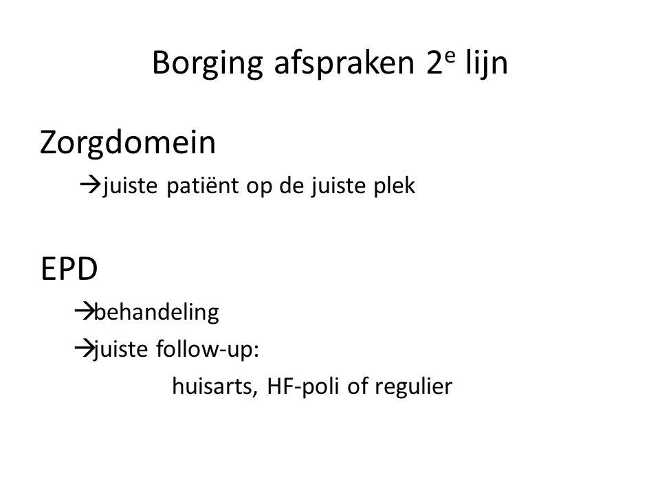 Borging afspraken 2 e lijn Zorgdomein  juiste patiënt op de juiste plek EPD  behandeling  juiste follow-up: huisarts, HF-poli of regulier