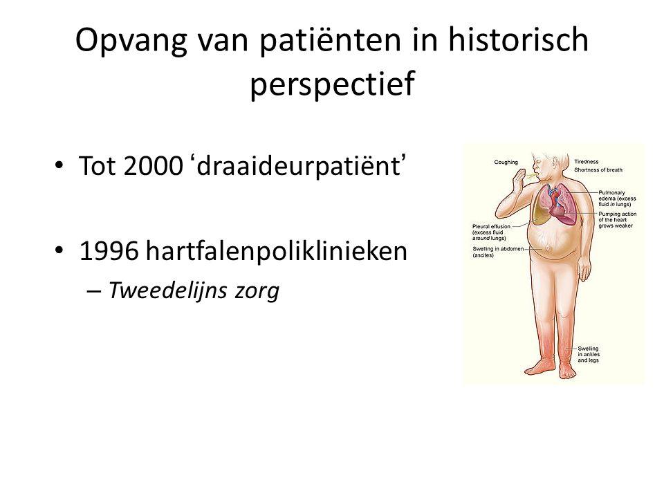 Opvang van patiënten in historisch perspectief • Tot 2000 'draaideurpatiënt' • 1996 hartfalenpoliklinieken – Tweedelijns zorg