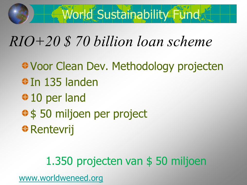 RIO+20 $ 70 billion loan scheme Voor Clean Dev.