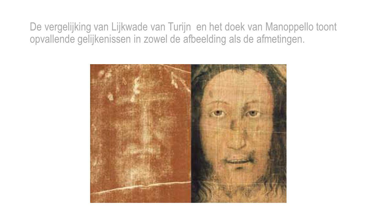 De vergelijking van Lijkwade van Turijn en het doek van Manoppello toont opvallende gelijkenissen in zowel de afbeelding als de afmetingen.