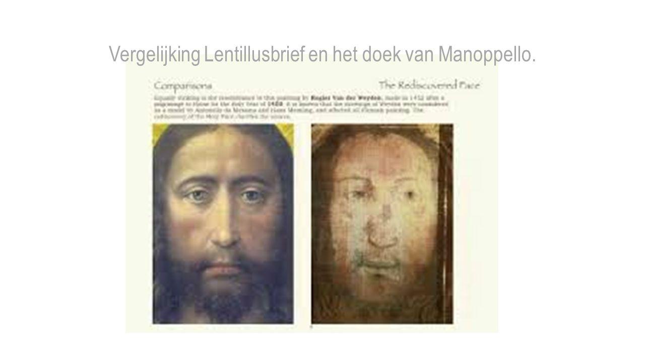 Vergelijking Lentillusbrief en het doek van Manoppello.