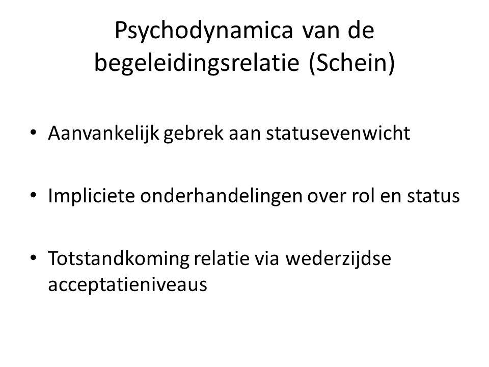 Psychodynamica van de begeleidingsrelatie (Schein) • Aanvankelijk gebrek aan statusevenwicht • Impliciete onderhandelingen over rol en status • Totsta