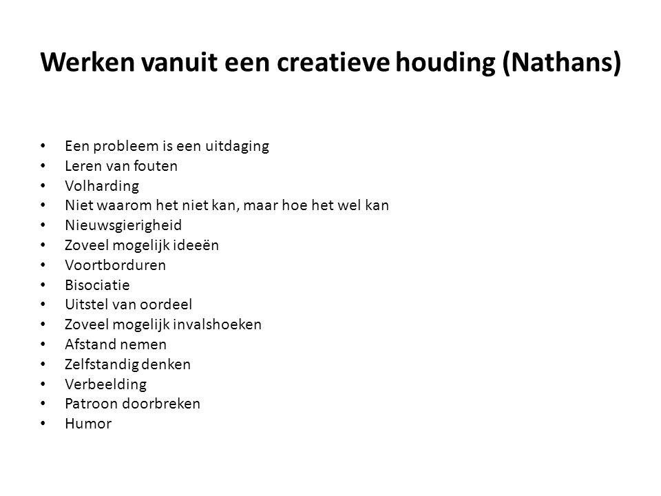 Werken vanuit een creatieve houding (Nathans) • Een probleem is een uitdaging • Leren van fouten • Volharding • Niet waarom het niet kan, maar hoe het