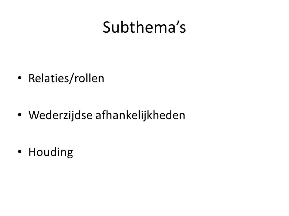 Subthema's • Relaties/rollen • Wederzijdse afhankelijkheden • Houding