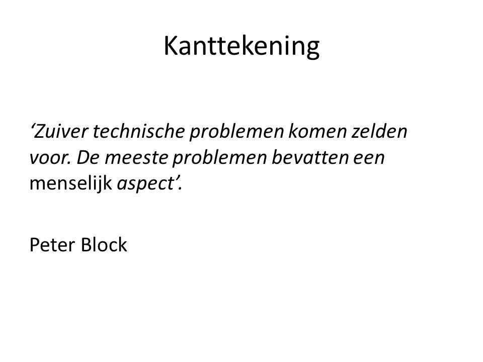 Kanttekening 'Zuiver technische problemen komen zelden voor. De meeste problemen bevatten een menselijk aspect'. Peter Block