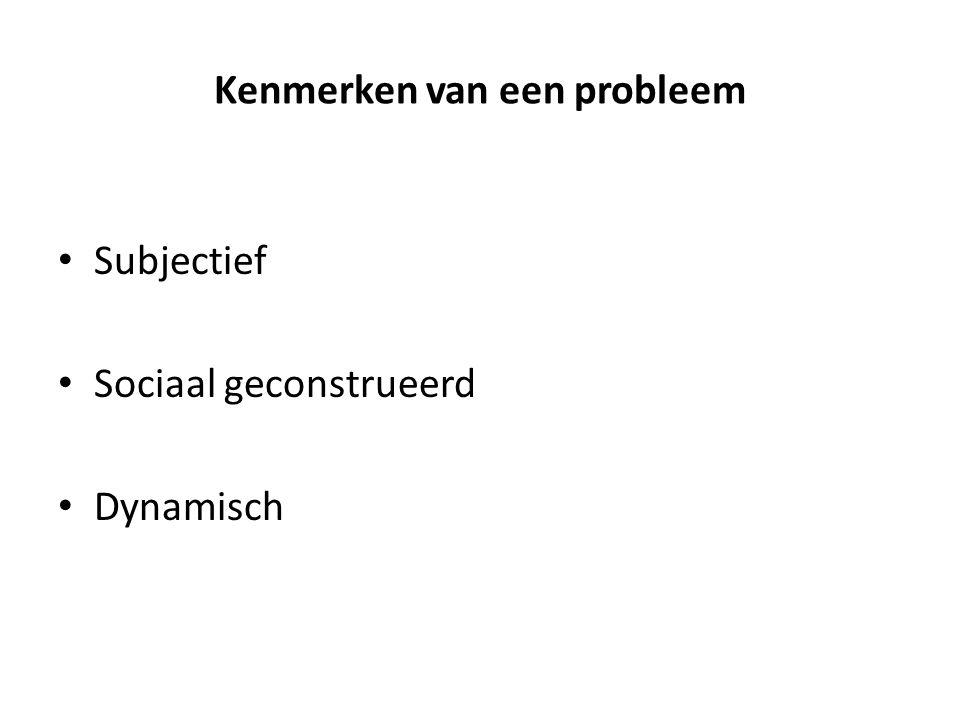 Kenmerken van een probleem • Subjectief • Sociaal geconstrueerd • Dynamisch
