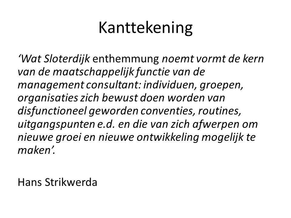 Kanttekening 'Wat Sloterdijk enthemmung noemt vormt de kern van de maatschappelijk functie van de management consultant: individuen, groepen, organisa