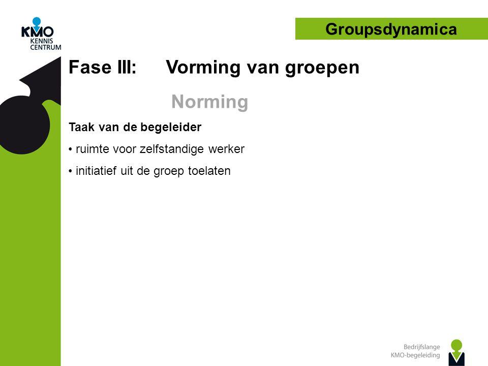 Groupsdynamica Fase III: Vorming van groepen Norming Taak van de begeleider • ruimte voor zelfstandige werker • initiatief uit de groep toelaten