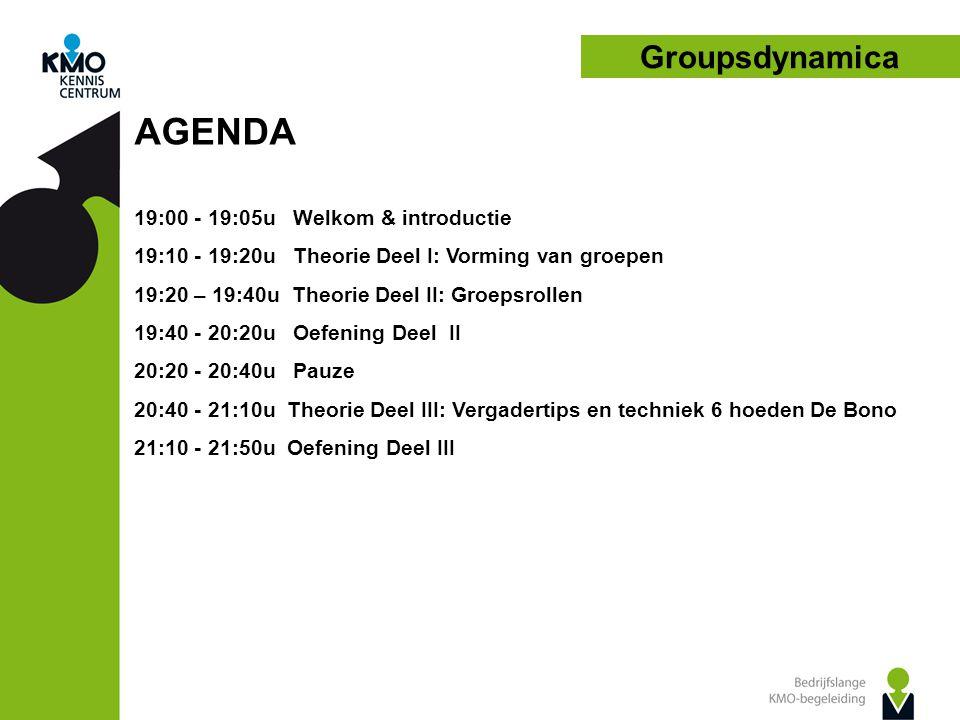 Groupsdynamica AGENDA 19:00 - 19:05u Welkom & introductie 19:10 - 19:20u Theorie Deel I: Vorming van groepen 19:20 – 19:40u Theorie Deel II: Groepsrollen 19:40 - 20:20u Oefening Deel II 20:20 - 20:40u Pauze 20:40 - 21:10u Theorie Deel III: Vergadertips en techniek 6 hoeden De Bono 21:10 - 21:50u Oefening Deel III