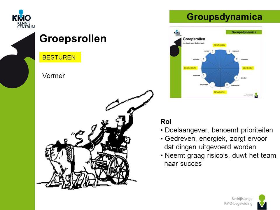 Groupsdynamica Groepsrollen BESTUREN Vormer Rol • Doelaangever, benoemt prioriteiten • Gedreven, energiek, zorgt ervoor dat dingen uitgevoerd worden • Neemt graag risico's, duwt het team naar succes