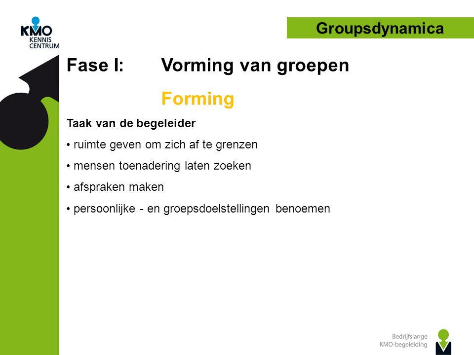 Groupsdynamica Fase I: Vorming van groepen Forming Taak van de begeleider • ruimte geven om zich af te grenzen • mensen toenadering laten zoeken • afspraken maken • persoonlijke - en groepsdoelstellingen benoemen