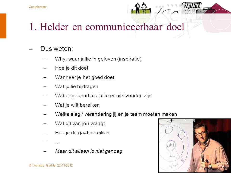 © Twynstra Gudde 22-11-2012 Containment 1. Helder en communiceerbaar doel –Dus weten: –Why: waar jullie in geloven (inspiratie) –Hoe je dit doet –Wann