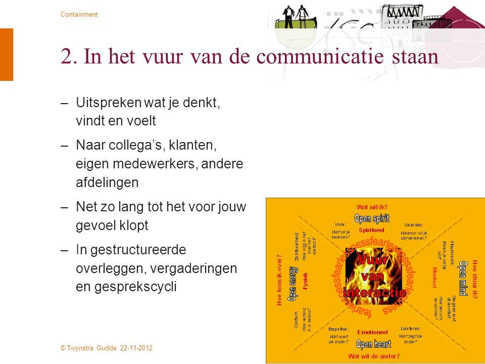 © Twynstra Gudde 22-11-2012 Containment 2. In het vuur van de communicatie staan –Uitspreken wat je denkt, vindt en voelt –Naar collega's, klanten, ei