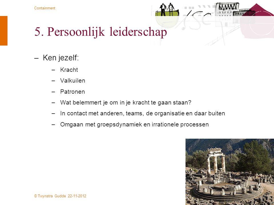 © Twynstra Gudde 22-11-2012 Containment 5. Persoonlijk leiderschap –Ken jezelf: –Kracht –Valkuilen –Patronen –Wat belemmert je om in je kracht te gaan