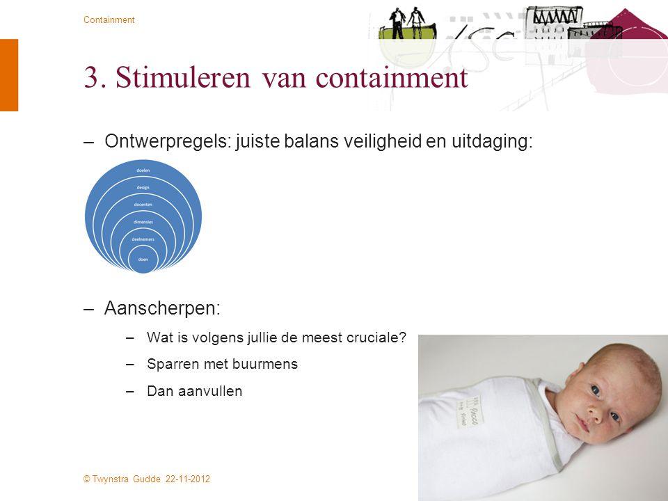 © Twynstra Gudde 22-11-2012 Containment 3. Stimuleren van containment –Ontwerpregels: juiste balans veiligheid en uitdaging: –Aanscherpen: –Wat is vol