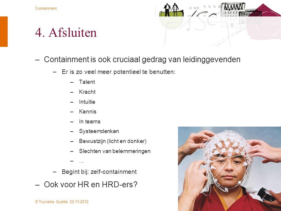 © Twynstra Gudde 22-11-2012 Containment 4. Afsluiten –Containment is ook cruciaal gedrag van leidinggevenden –Er is zo veel meer potentieel te benutte