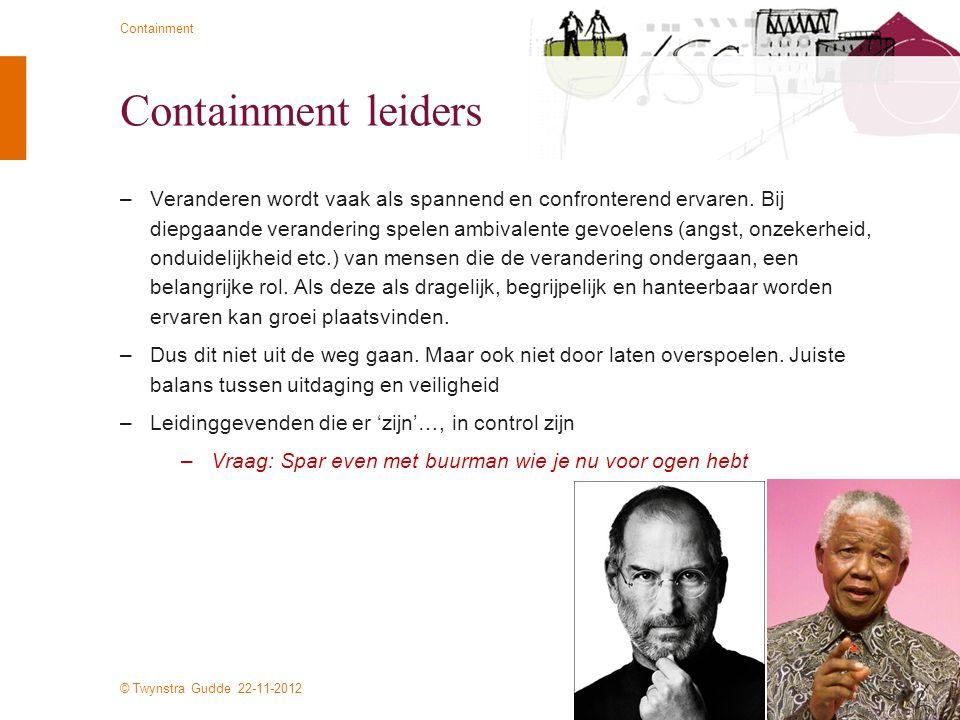 © Twynstra Gudde 22-11-2012 Containment Containment leiders –Veranderen wordt vaak als spannend en confronterend ervaren. Bij diepgaande verandering s