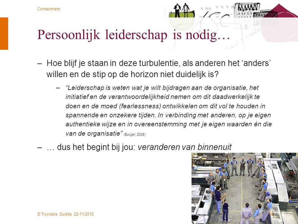 © Twynstra Gudde 22-11-2012 Containment Persoonlijk leiderschap is nodig… –Hoe blijf je staan in deze turbulentie, als anderen het 'anders' willen en