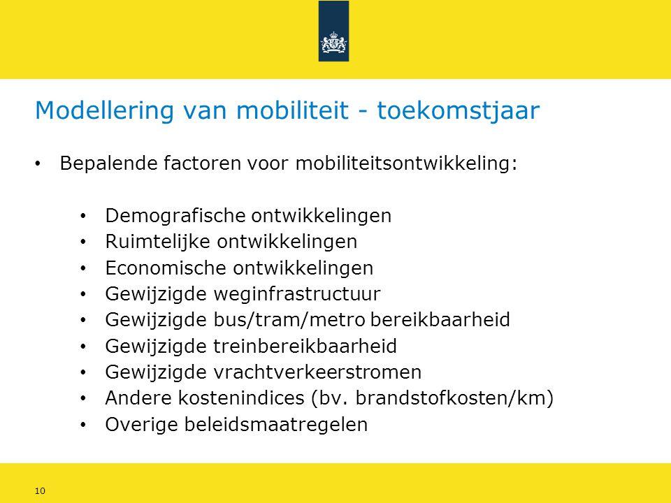 10 Modellering van mobiliteit - toekomstjaar • Bepalende factoren voor mobiliteitsontwikkeling: • Demografische ontwikkelingen • Ruimtelijke ontwikkel