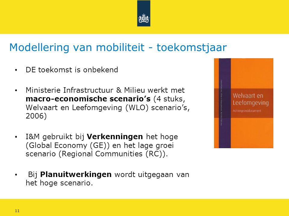 11 Modellering van mobiliteit - toekomstjaar • DE toekomst is onbekend • Ministerie Infrastructuur & Milieu werkt met macro-economische scenario's (4