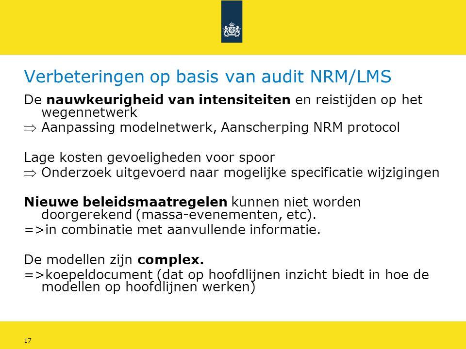 17 Verbeteringen op basis van audit NRM/LMS De nauwkeurigheid van intensiteiten en reistijden op het wegennetwerk  Aanpassing modelnetwerk, Aanscherp