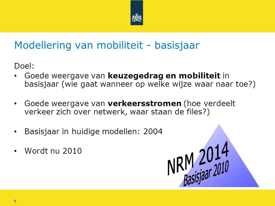 6 Modellering van mobiliteit - basisjaar Doel: • Goede weergave van keuzegedrag en mobiliteit in basisjaar (wie gaat wanneer op welke wijze waar naar