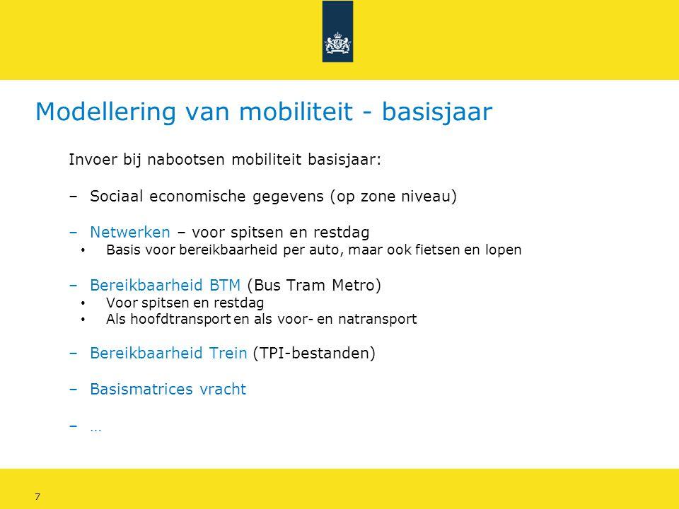 8 Modellering van mobiliteit - basisjaar • Basis voor mobiliteit: SEGs (Sociaal Economische Gegevens) • Aantal huishoudens en personen per zone • Kenmerken van personen en huishoudens • Kenmerken van zones (werkgelegenheid per sector, studieplaatsen, etc) zone