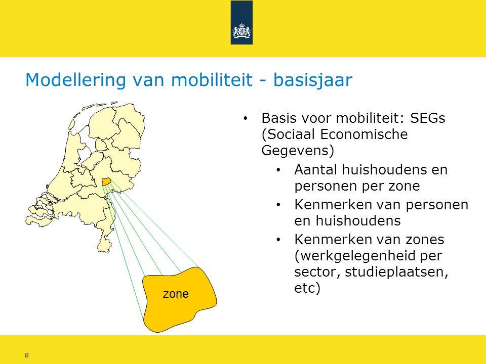 8 Modellering van mobiliteit - basisjaar • Basis voor mobiliteit: SEGs (Sociaal Economische Gegevens) • Aantal huishoudens en personen per zone • Kenm
