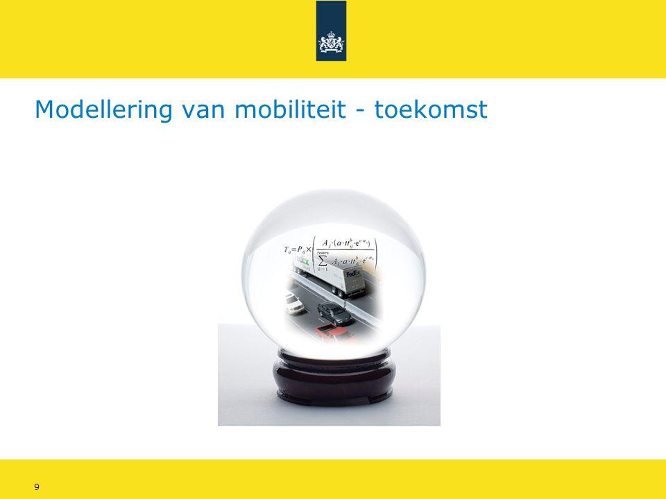 10 Modellering van mobiliteit - toekomstjaar • Bepalende factoren voor mobiliteitsontwikkeling: • Demografische ontwikkelingen • Ruimtelijke ontwikkelingen • Economische ontwikkelingen • Gewijzigde weginfrastructuur • Gewijzigde bus/tram/metro bereikbaarheid • Gewijzigde treinbereikbaarheid • Gewijzigde vrachtverkeerstromen • Andere kostenindices (bv.