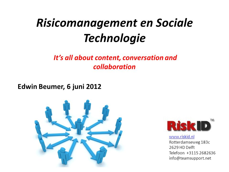Risicomanagement en Sociale Technologie It's all about content, conversation and collaboration www.riskid.nl Rotterdamseweg 183c 2629 HD Delft Telefoon +3115 2682636 info@teamsupport.net Edwin Beumer, 6 juni 2012