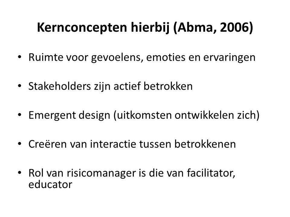 Kernconcepten hierbij (Abma, 2006) • Ruimte voor gevoelens, emoties en ervaringen • Stakeholders zijn actief betrokken • Emergent design (uitkomsten o