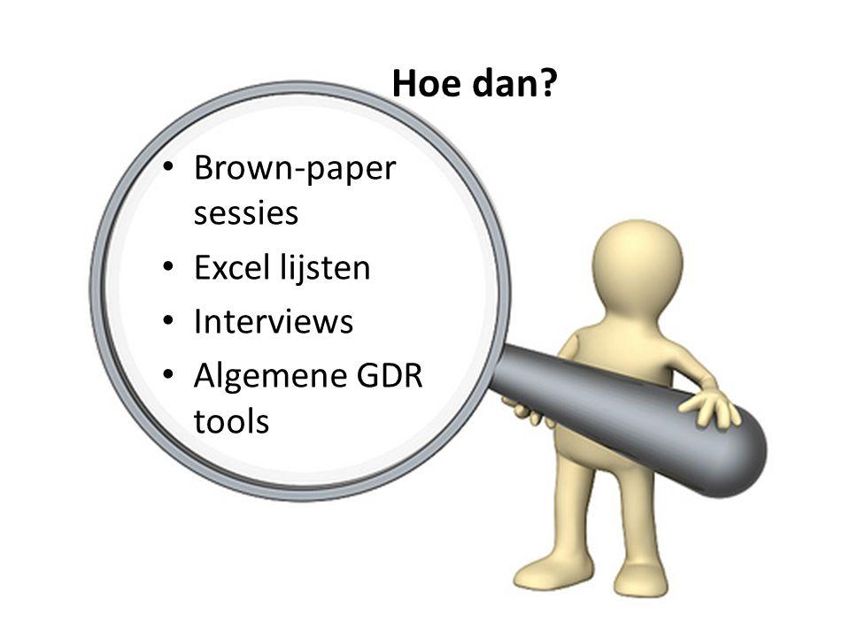 Hoe dan? • Brown-paper sessies • Excel lijsten • Interviews • Algemene GDR tools