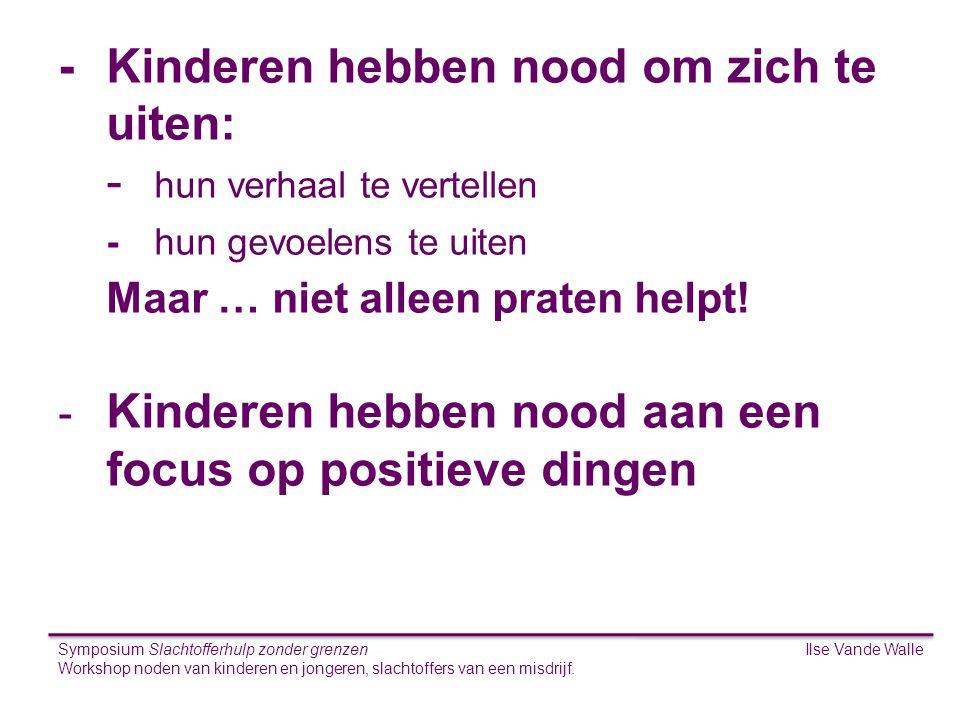 Ilse Vande WalleSymposium Slachtofferhulp zonder grenzen Workshop noden van kinderen en jongeren, slachtoffers van een misdrijf. S -Kinderen hebben no