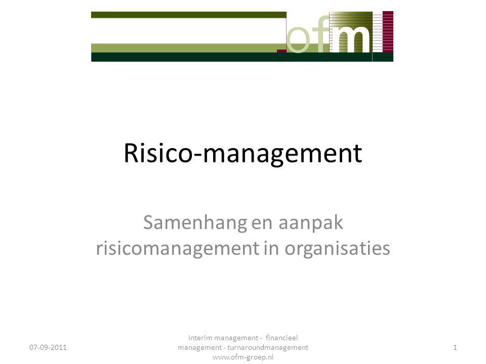 Risico-management Samenhang en aanpak risicomanagement in organisaties 07-09-2011 Interim management - financieel management - turnaroundmanagement ww