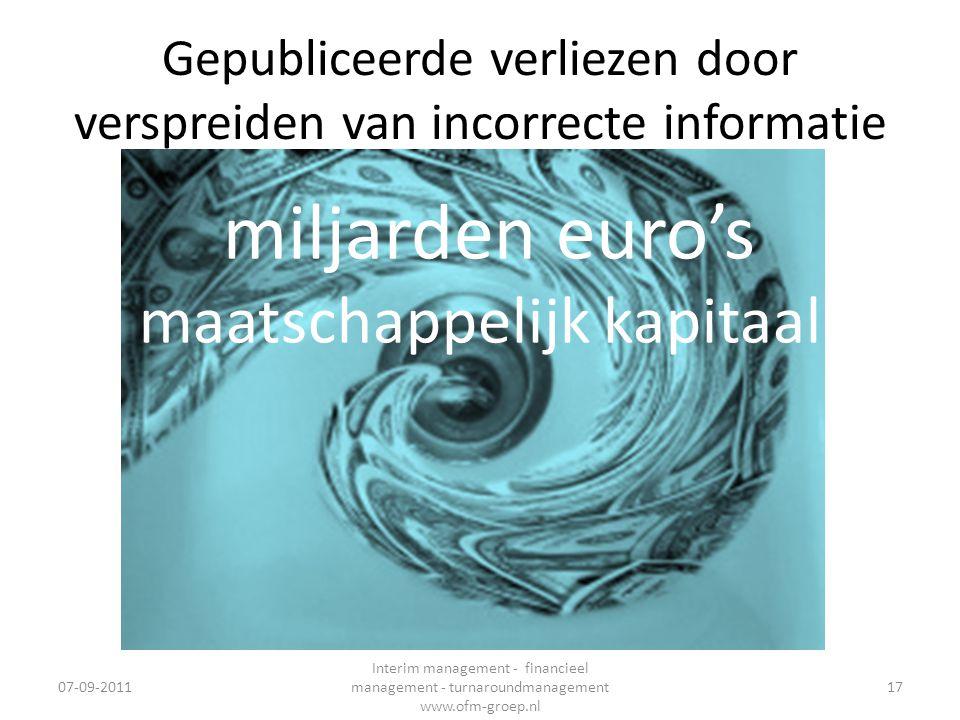 Gepubliceerde verliezen door verspreiden van incorrecte informatie 07-09-2011 Interim management - financieel management - turnaroundmanagement www.of