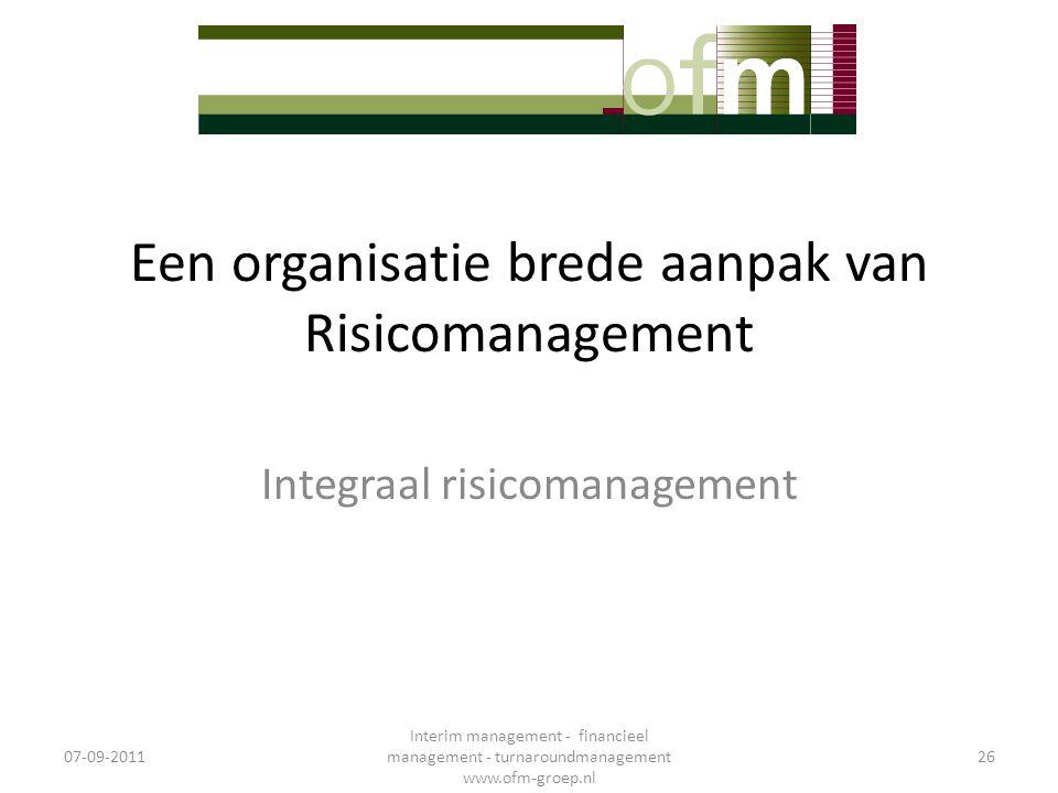 Een organisatie brede aanpak van Risicomanagement Integraal risicomanagement 07-09-2011 Interim management - financieel management - turnaroundmanagem