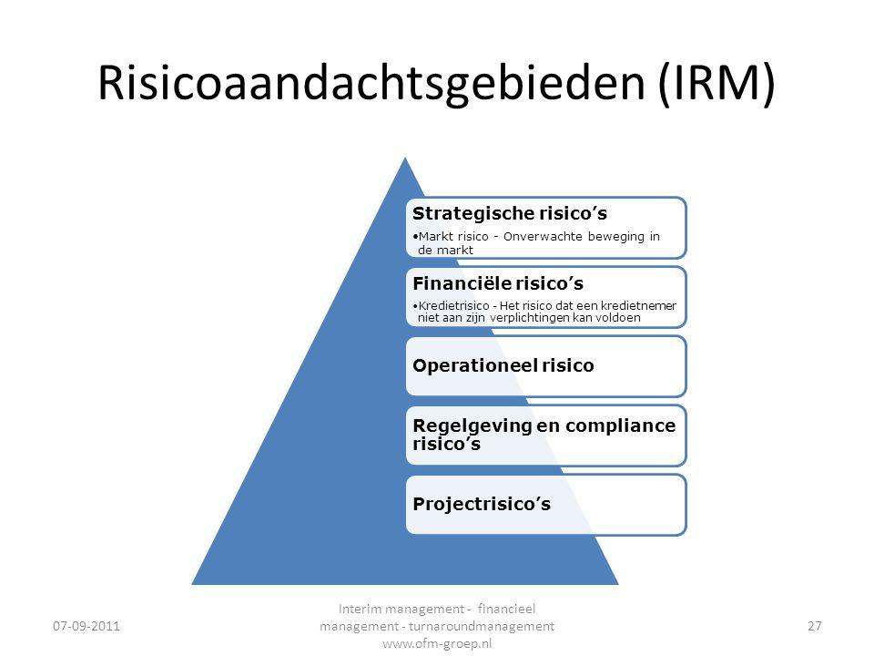 Risicoaandachtsgebieden (IRM) Strategische risico's •Markt risico - Onverwachte beweging in de markt Financiële risico's •Kredietrisico - Het risico d