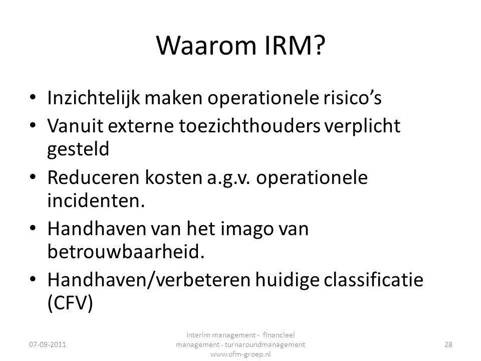 Waarom IRM? • Inzichtelijk maken operationele risico's • Vanuit externe toezichthouders verplicht gesteld • Reduceren kosten a.g.v. operationele incid