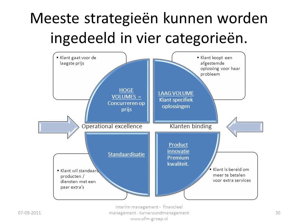 Meeste strategieën kunnen worden ingedeeld in vier categorieën. •Klant is bereid om meer te betalen voor extra services •Klant wil standaard producten
