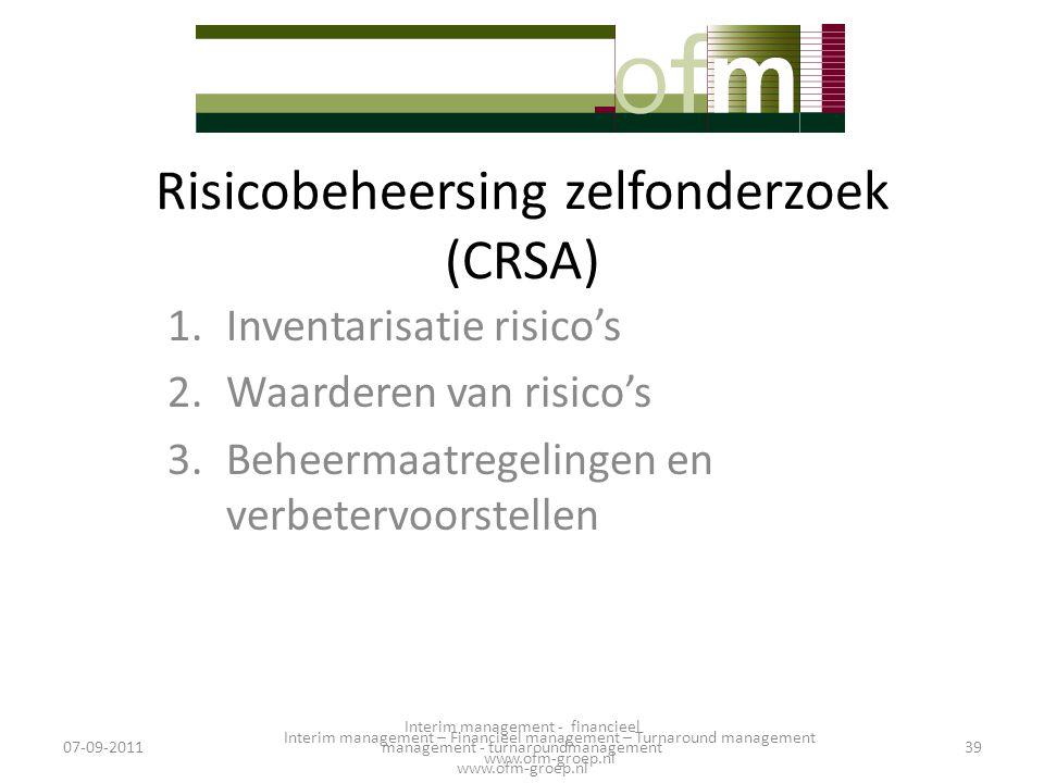 Risicobeheersing zelfonderzoek (CRSA) 1.Inventarisatie risico's 2.Waarderen van risico's 3.Beheermaatregelingen en verbetervoorstellen 07-09-201139 In
