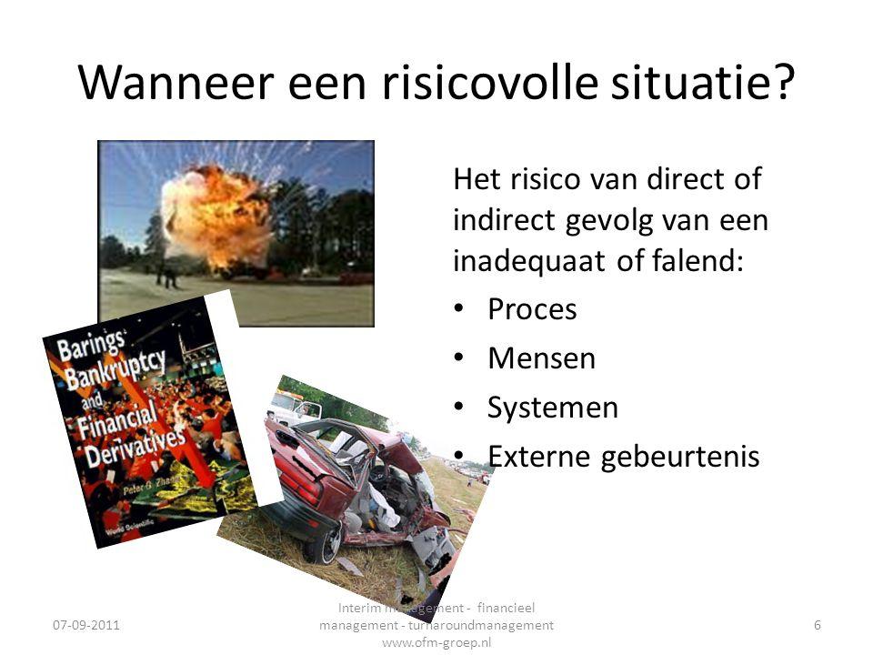 De praktijk • Inventarisaren + kwantificeren risico's • Scenariotest – ALM • Risicobeheersing zelfonderzoek 07-09-2011 Interim management - financieel management - turnaroundmanagement www.ofm-groep.nl 37