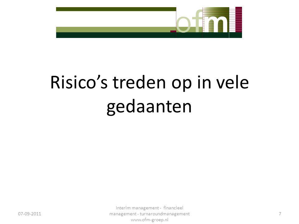 Risicobeheersing zelfonderzoek (CRSA) • Uitgangspunt alle functie erbij betrekken: – Verhuur, onderhoud, dagelijks onderhoud, vastgoedontwikkeling, HRM, financiën & administratie, strategie & beleid,… • Samenstelling teams – Manager, teamleider, medewerker • Integrale aanpak 07-09-2011 Interim management - financieel management - turnaroundmanagement www.ofm-groep.nl 38