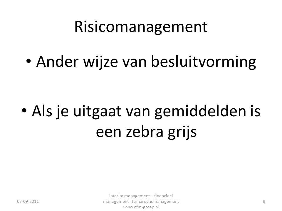 Risicomanagement • Ander wijze van besluitvorming • Als je uitgaat van gemiddelden is een zebra grijs 07-09-2011 Interim management - financieel manag
