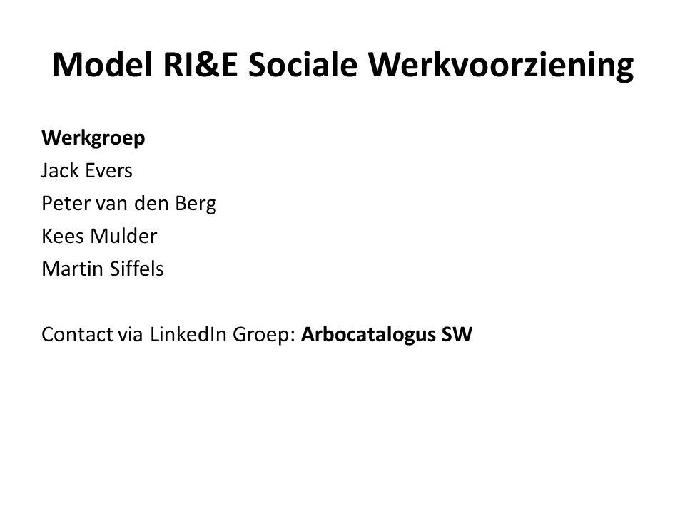 Inhoud: 1.RI&E: korte toelichting 2.RI&E en Sociale Werkvoorziening 3.Opzet van de Model RI&E 4.Keuzes en Status van RI&E 5.Inhoud van de RIE 6.Risicobeoordeling 7.Demo vragenlijsten