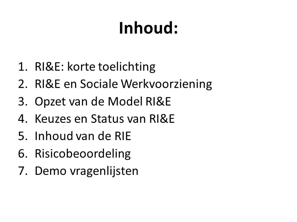 Inhoud: 1.RI&E: korte toelichting 2.RI&E en Sociale Werkvoorziening 3.Opzet van de Model RI&E 4.Keuzes en Status van RI&E 5.Inhoud van de RIE 6.Risico