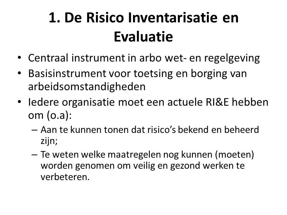 1. De Risico Inventarisatie en Evaluatie • Centraal instrument in arbo wet- en regelgeving • Basisinstrument voor toetsing en borging van arbeidsomsta