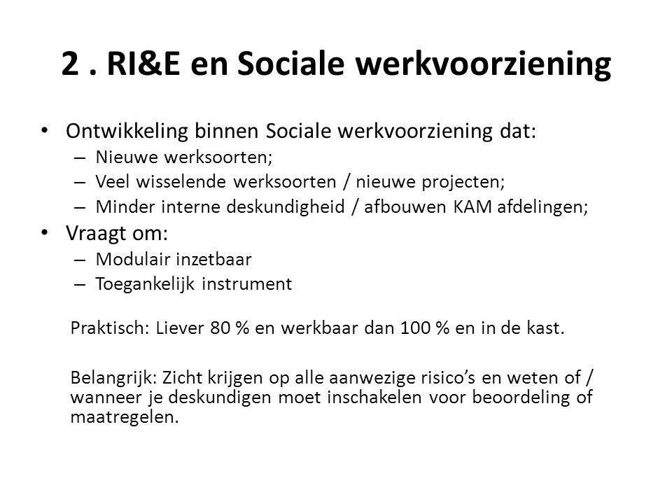 2. RI&E en Sociale werkvoorziening • Ontwikkeling binnen Sociale werkvoorziening dat: – Nieuwe werksoorten; – Veel wisselende werksoorten / nieuwe pro