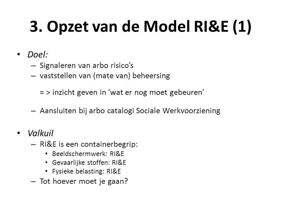 3. Opzet van de Model RI&E (1) • Doel: – Signaleren van arbo risico's – vaststellen van (mate van) beheersing = > inzicht geven in 'wat er nog moet ge