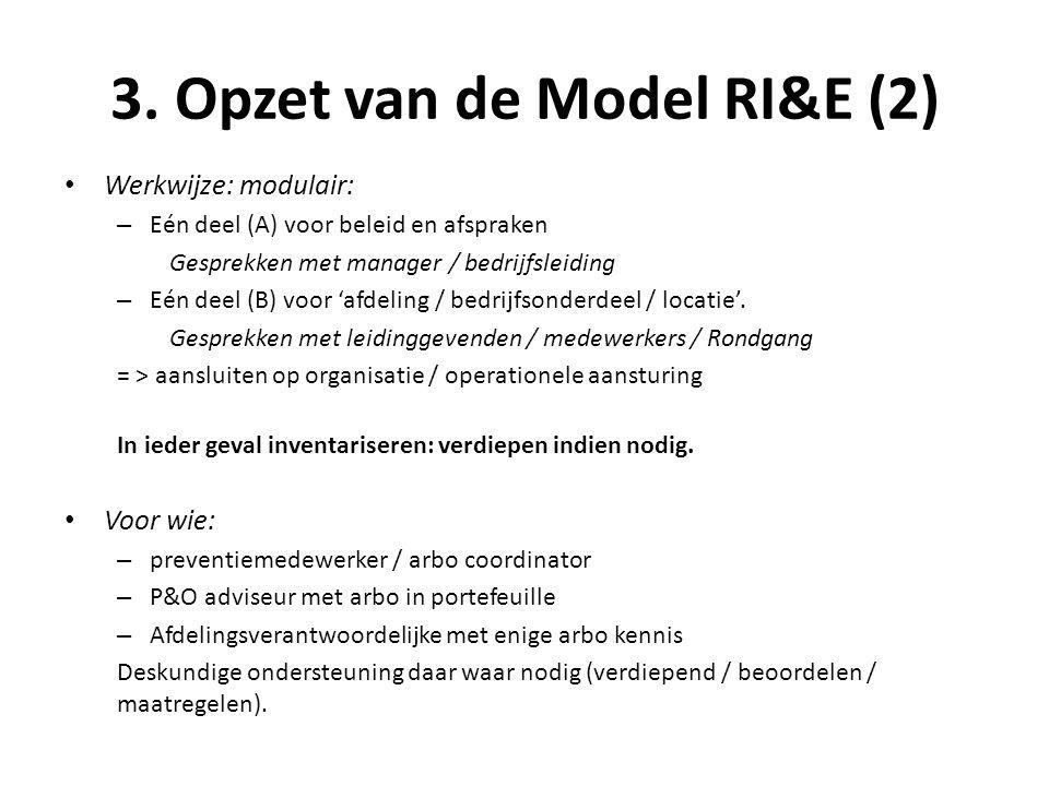 3. Opzet van de Model RI&E (2) • Werkwijze: modulair: – Eén deel (A) voor beleid en afspraken Gesprekken met manager / bedrijfsleiding – Eén deel (B)