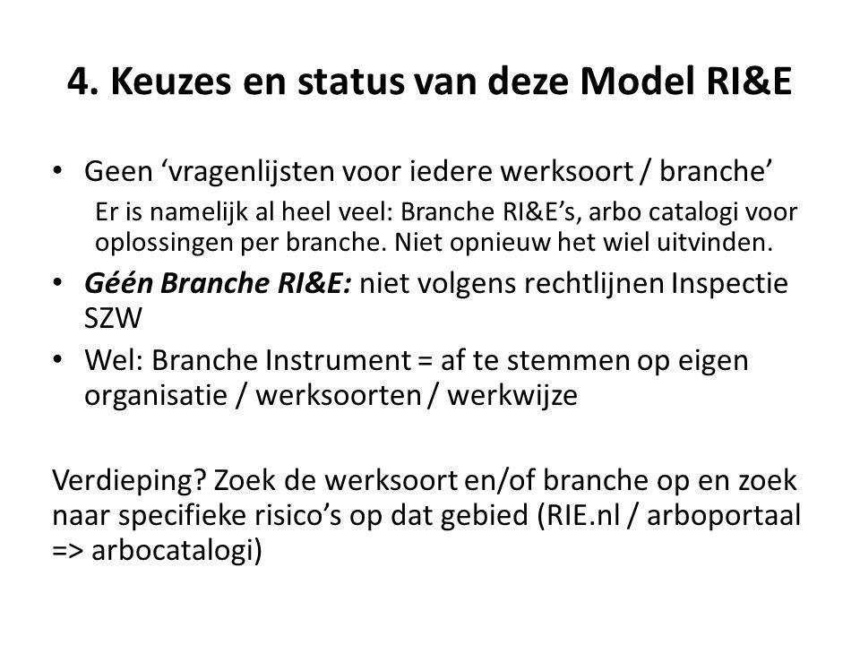 4. Keuzes en status van deze Model RI&E • Geen 'vragenlijsten voor iedere werksoort / branche' Er is namelijk al heel veel: Branche RI&E's, arbo catal